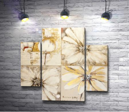 Коллаж из белых цветов в стиле винтаж