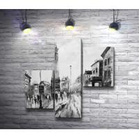 Прогулка по улице старого города. Черно-белая гамма
