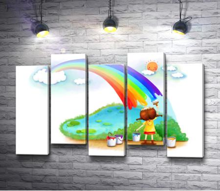 Девочка рисует радугу