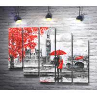 Пара под красным зонтом в Лондоне. Черно-белая гамма