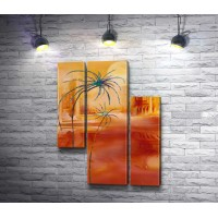 Оранжевый пейзаж с пальмами