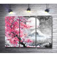 Цветущая сакура и снежная гора