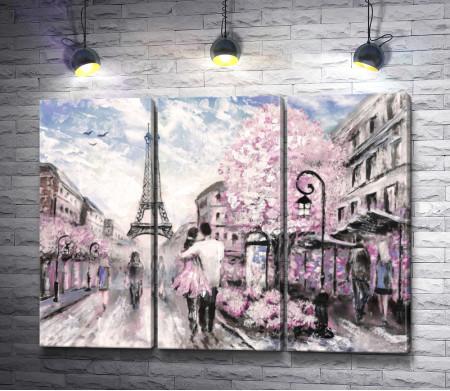 Влюбленная пара - прогулка по Парижу. Эйфелева башня