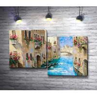 Гондолы возле дома на канале. Венеция, Италия