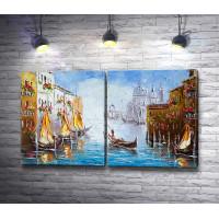 Гондольер с туристами на Гранд-канале. Венеция, Италия