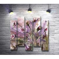 Полевые цветы на лиловом фоне
