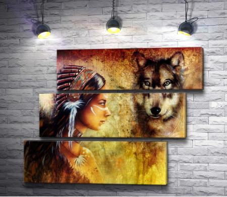 Девушка-индианка и волк