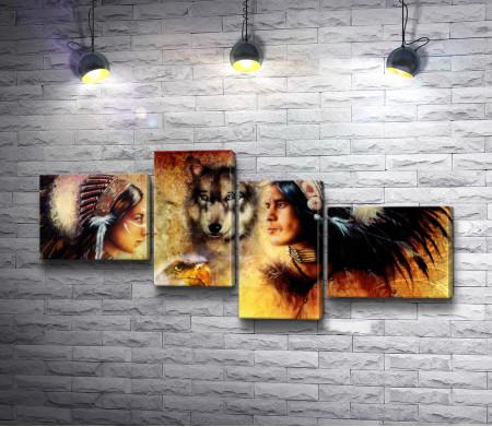 Пара индейцев, волк и орел