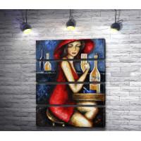 Леди в красном в баре