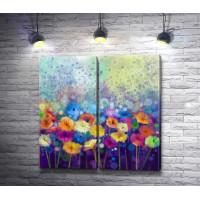 Разноцветные цветы в стиле гранж