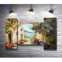 Двор с аркой,  цветами и видом на море