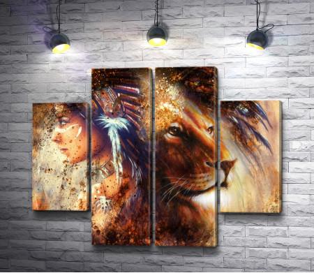 Индейская девушка и лев в стиле гранж