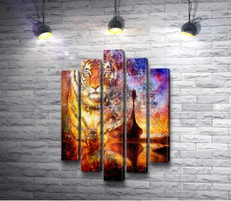 Деревянная лодка и тигровая голова