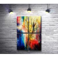 Дерево на разноцветном фоне