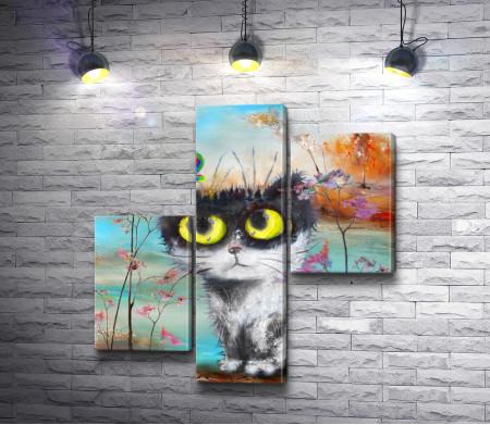 Пушистый кот и бабочка
