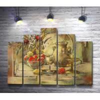 Натюрморт: яблоки,  бокал,  кувшин и листья