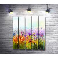 Разноцветные полевые цветы в стиле гранж