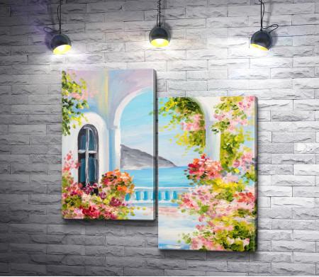Цветочная веранда с видом на море и гору