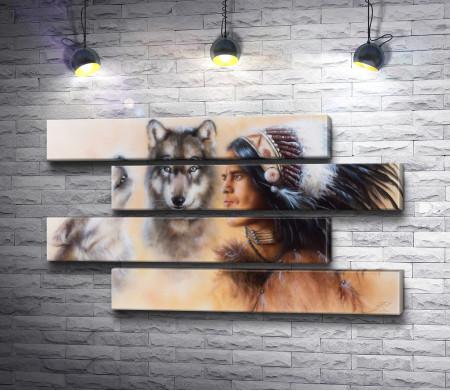 Индийский воин с двумя волками