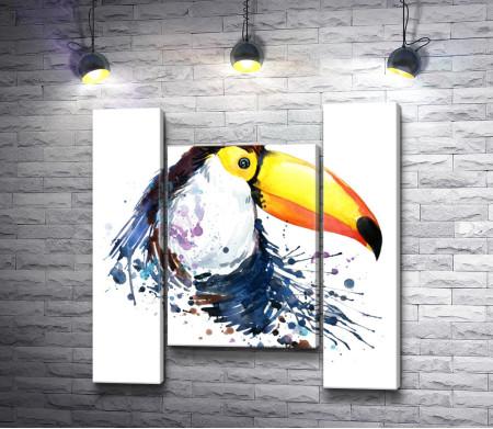 Нарисованный красками тукан