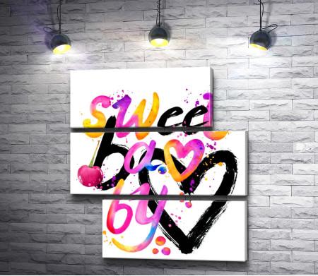 """Сердце и текст """"Sweet baby"""""""