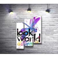 "Стрекоза и текст ""Look at the world"""