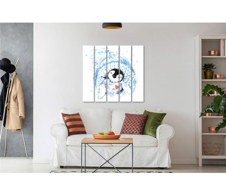 Пингвин в зимней шапке и с сердечком