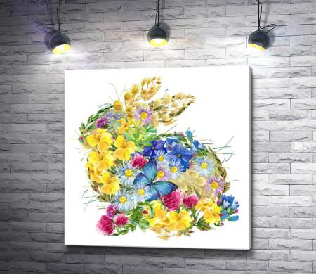 Кролик из полевых цветов и бабочка