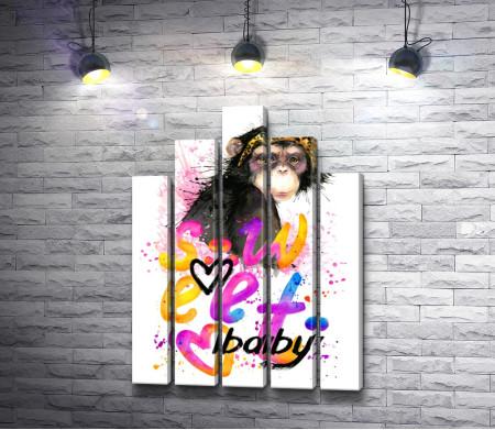 """Обезьяна и текст """"Sweet baby"""""""
