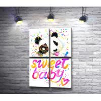 """Панда и текст """"Sweet baby"""""""
