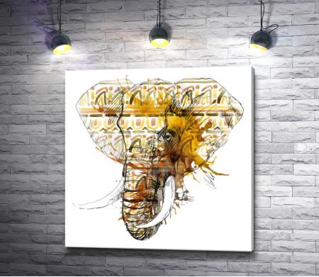 Слон с бивнями