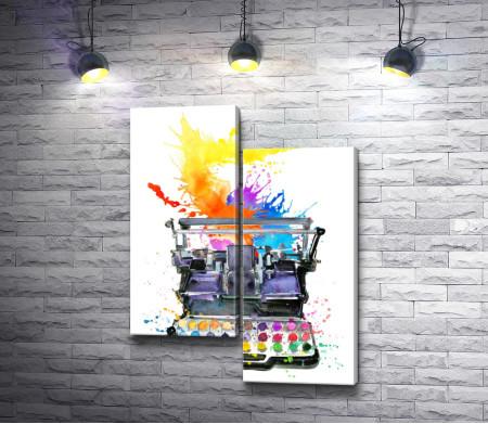 Печатная машинка с разноцветными красками