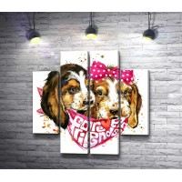 Два щенка с бантом и платком