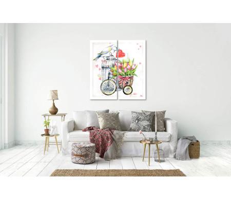 Птица с сердцем и велосипед с тюльпанами