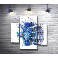 Синяя зебра в очках