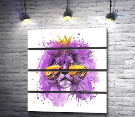 Фиолетовый лев с золотыми очками и короной