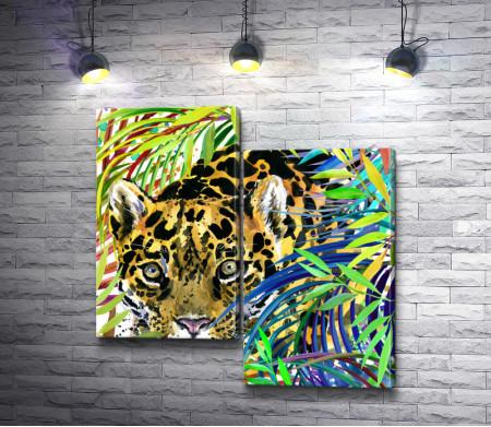 Гепард, притаившийся в джунглях