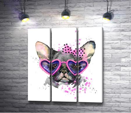 Грустный пес в очках-сердечках
