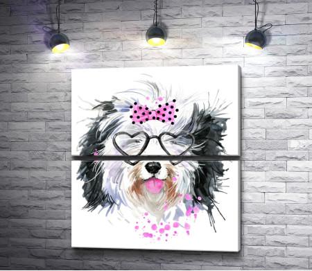 Забавный пес в очках-сердечках