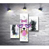 Лохматый пес в очках-сердечках и с леденцом