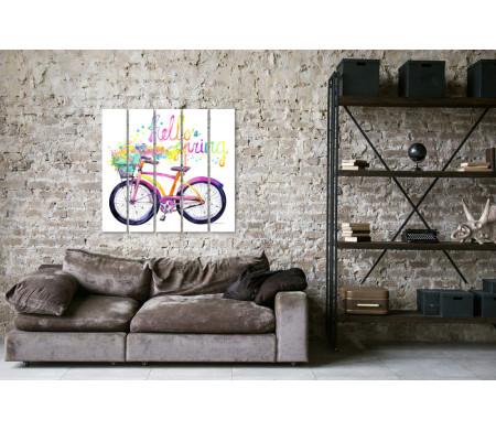 Велосипед и разноцветные брызги. Hello spring