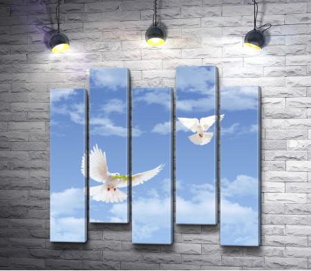 Два белых голубя с веточкой в небе