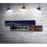 Ночной Манхэттенский мост в Нью-Йорке