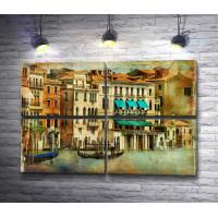 Гондольер с туристами на Венецианском канале. Винтаж