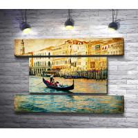 Гондольер на Венецианском канале. Винтаж