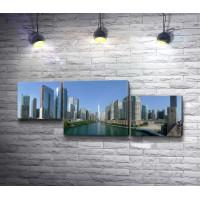 Панорама города Чикаго с небоскребами