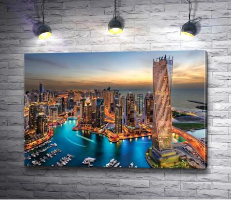 Вид на вечерний Дубай, ОАЭ
