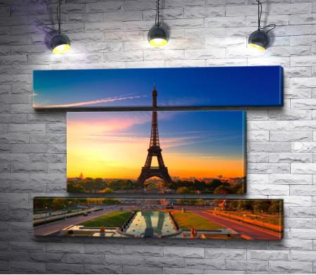 Эйфелевая башня во время вечернего заката, Париж
