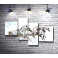 Три белых коня со снежинками