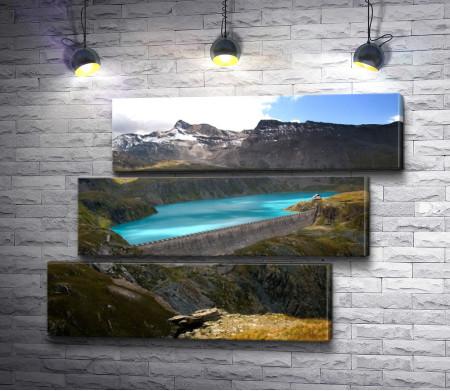 Озеро с плотиной в горах